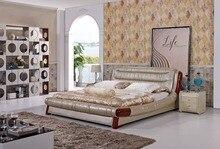 Современный дизайнер кожа мягкая кровать / большой двойной мебель для спальни, Американский стиль