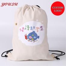Подгонянная хлопковая школьная сумка Холщовая Сумка на шнурке с дешевой ценой