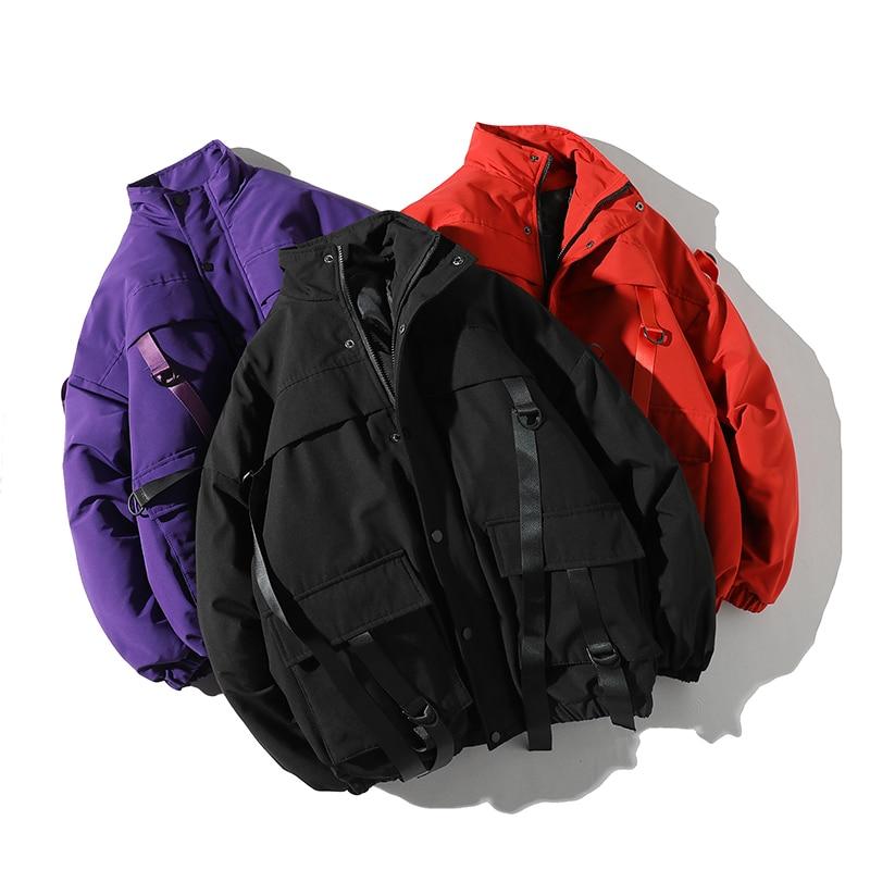 Fashion men's cotton jacket 2019 Winter Casual Windbreaker Mens   Parka   Hip hop Bandage design Coats Man Streetwear Outwear