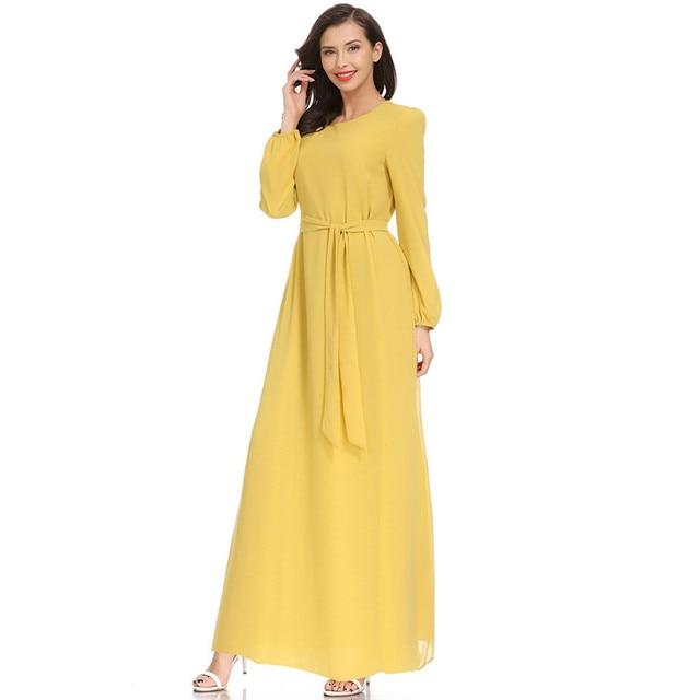 Women Fashion Elegant Muslim Plius Size Dresses Casual Solid O-Neck Ful Sleeve Chiffon Arab Islam Jilbab Dress z0415 5