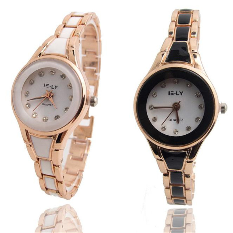 Women Rose Gold Plated Bracelet Ceramic Dial Quartz Analog Wrist Watch Women's Watches Brand Luxury Fashion Ladies #4m02