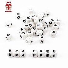 BOBO. BOX 10 шт буквы силиконовые Алфавит 12 мм пищевого качества жевательные бусины для ребенка прорезывание зубов ожерелье без БФА силиконовые буквы бусины
