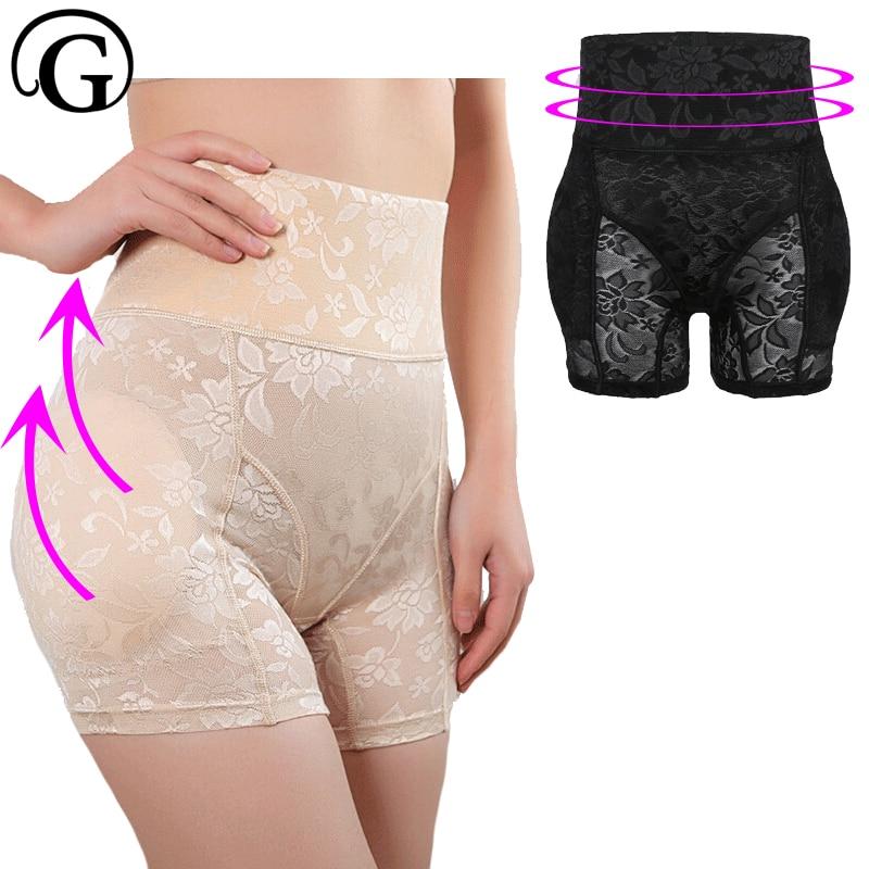 Booty Control Nohavičky Fake Ass Butt Lifter Snímatelné vložky Body Shaper Ženy Spodní prádlo Plus Velikost Lift Buttock Waist Slimmer