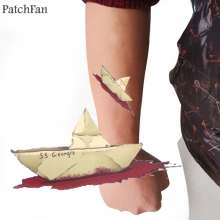 2pcs Patchfan Stephen Kings IT SS Georgie Temporary Body Art Tattoo Sticker Shoulder Arm Water Transfer Men Makeup A1514