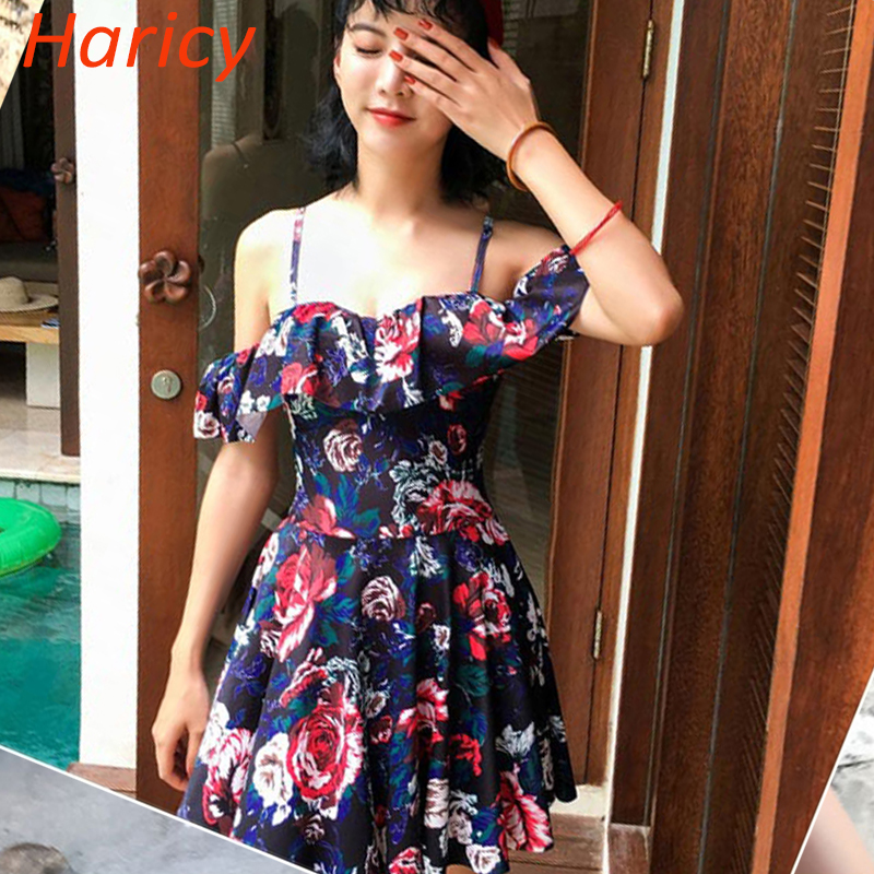 2018 New Floral Girl One Pieces Swimwear Off Shoulder Swimwear Women Swimsuit Dress Skirt Push Up Swim Dress Swimwear For Women glasgow k girl in pieces