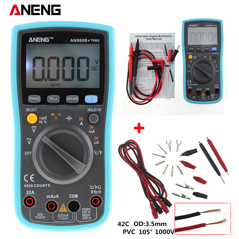 ANENG AN860B LCD 6000 counts Digital Multimeter DMM with NCV Detector DC AC Voltage Current Meter Resistance Diode Tester bside adm04 lcd digital multimeter mini pocket 2000 counts dmm dc ac voltage current meter diode tester auto ranging multimetro