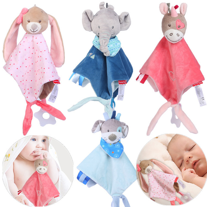 Baby Rattles Soothe Appease Towel Infant Newbron Rabbit Dolls Comfort Towel With Teether Crib Stroller Baby Toys For 0-12 Months