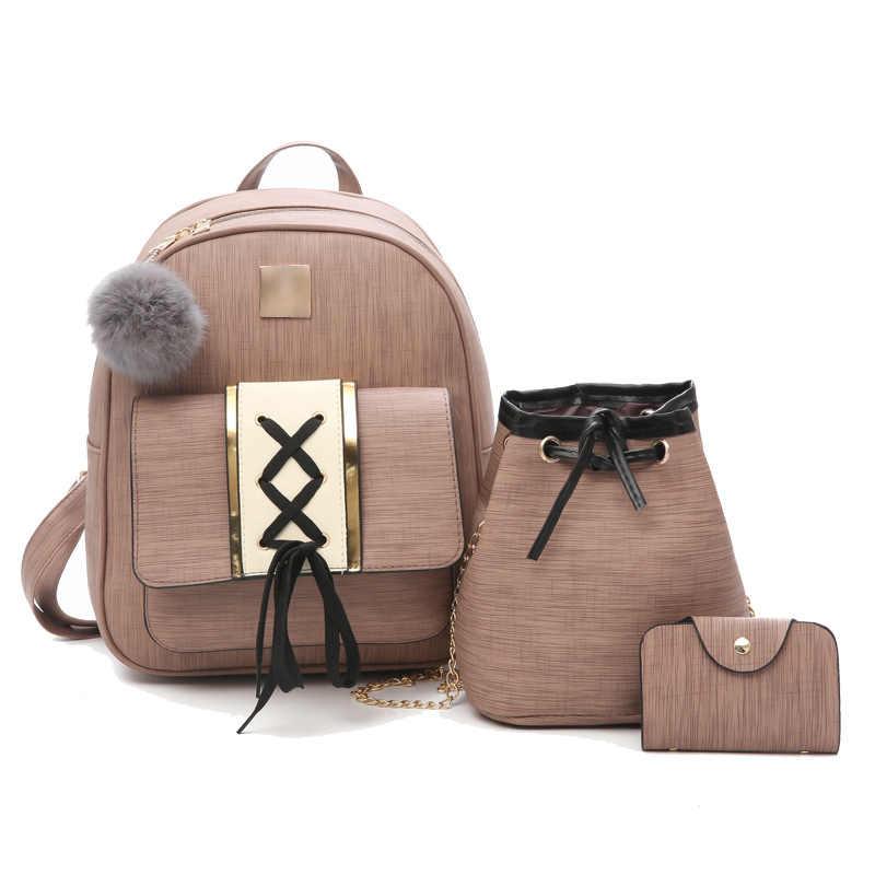 5497f16666de Школьные сумки рюкзак для девочек-подростков Для женщин 2018 кожа 3  шт./компл