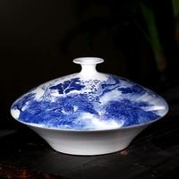 celebrity painted blue and white landscape flat belly big living room decoration decoration Home Furnishing vase