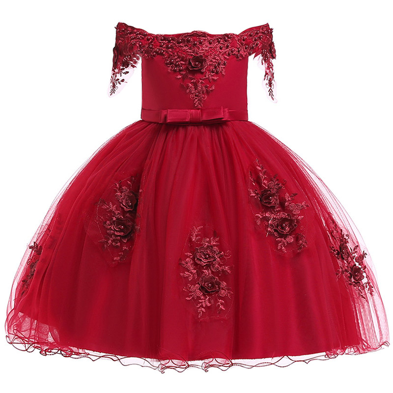 Flower Princess Wedding Garment Party Dress Girl Nail Pearl Embroidery Birthday Party Dress Opening Ceremony Party Dress