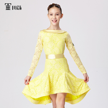 Latin dance competition standard dress for Girls acrobatics clothing high quality lace free shipping