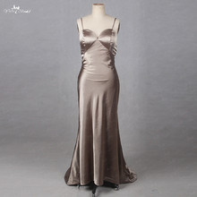 2b035a5959d48 RSE806 Real Job Photo Simple Backless Sheath Brown Colored Satin Dress Plus  Size Sexy Bridesmaid Dresses