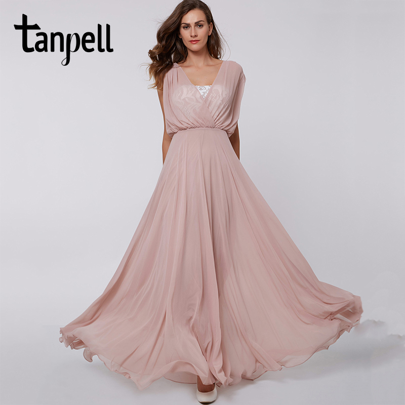 Tanpell v neck long prom dress sexy pink sleeveless lace floor length a line dresses cheap women party formal evening prom gown
