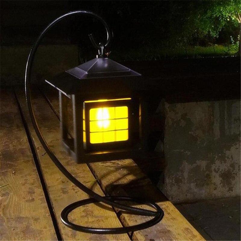 Waterproof LED Solar Panel Flame Candle Light Chandelier Outdoor Garden Lawn Landscape Lamp Power Lantern Lamp Garland Decor