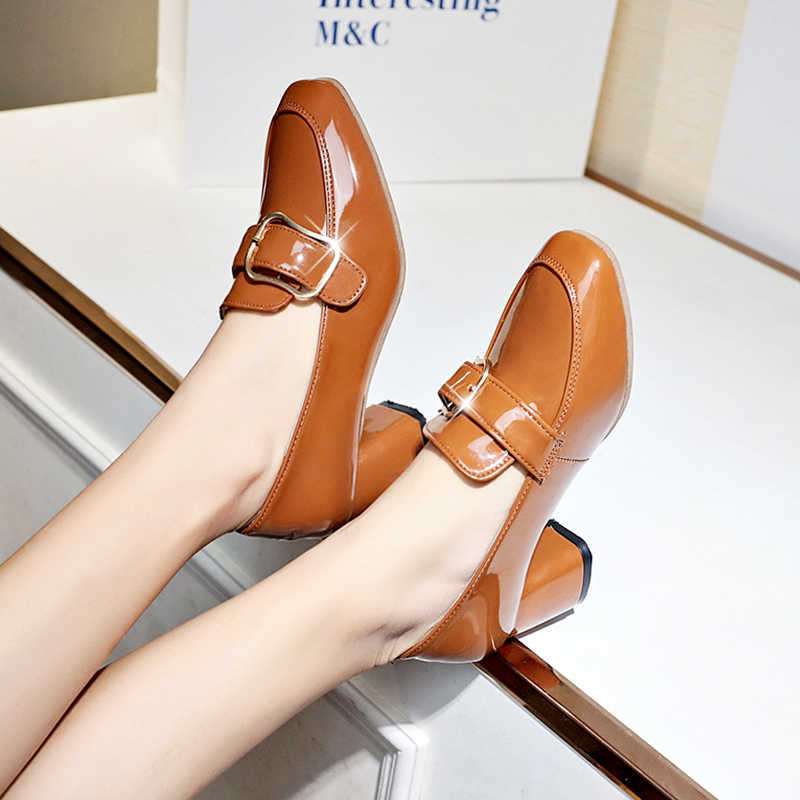 81314a6a1 ... Japanned Leather chunky zapatos de mujer high heels loafers metal belt  square buckle decorate pumps brand