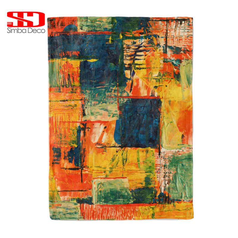 Colorful Plaid Flannel бросьте одеяла на диван творческий Спрей картина маслом мягкий теплый белый Меховые чехлы плюшевые покрывала одеяла