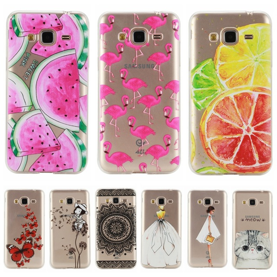 for coque samsung galaxy j3 j300 j310 j3 2016 j320 case silicone transparent cute cat fruit