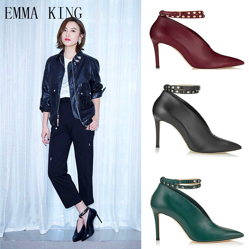 Shallow Womens Shoes New Spring Womens Boots Straps Buckle Rivet Ankle Boots Stiletto Matte Leather Wedding ShoesShallow Womens Shoes New Spring Womens Boots Straps Buckle Rivet Ankle Boots Stiletto Matte Leather Wedding Shoes