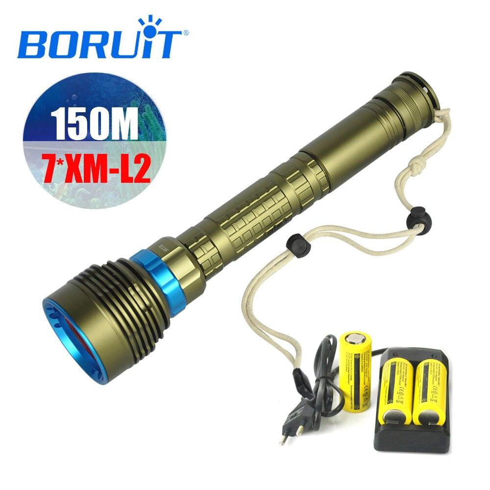 BORUIT высокое Мощность XML-T6 светодио дный Дайвинг Подводные фонарик Водонепроницаемый факел лампы Фонари подводная лодка Свет для подводной ...