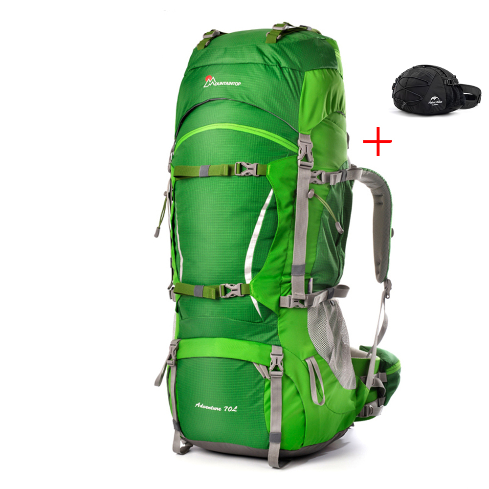 Group 70L Outdoor Climbing Backpack + 8L Waist Bags for Travel Hiking Camping