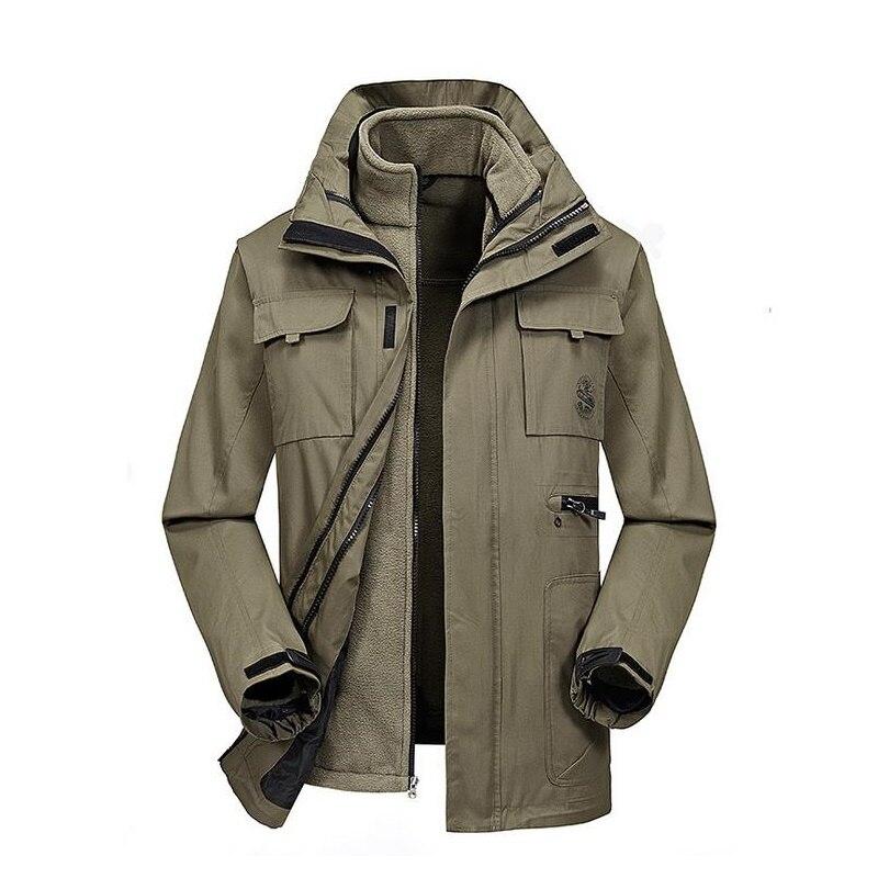Men Hiking Jacket 3 in 1 with inner fleece coat warming Winter Hunting Sports Outdoor Waterproof