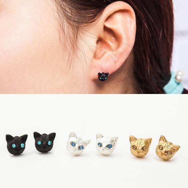 Gold Silver Black Plated Cat Head Ear Stud Earring For Women Crystal  Rhinestone Animal Earrings Jewelry c6fa577679b5