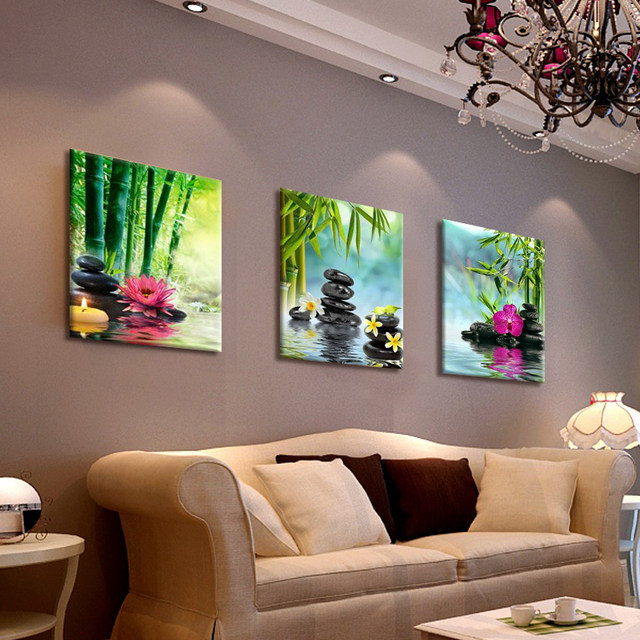 High Quality Canvas Painting Wall Art Decor SPA Stone Green Bamboo Pink 3 Panels Modern Zen  Canvas Painting Prints Giclee Art