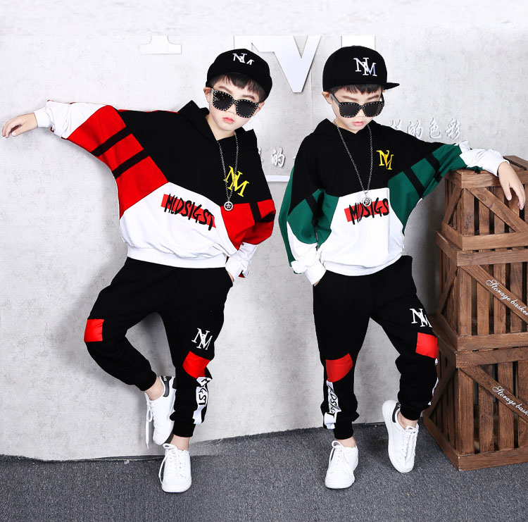 Kids Fashion Logo Hoodies and Fashion Sweatpants Hip Hop Sweatshirt and Pants Tracksuit Set for Boys Girls