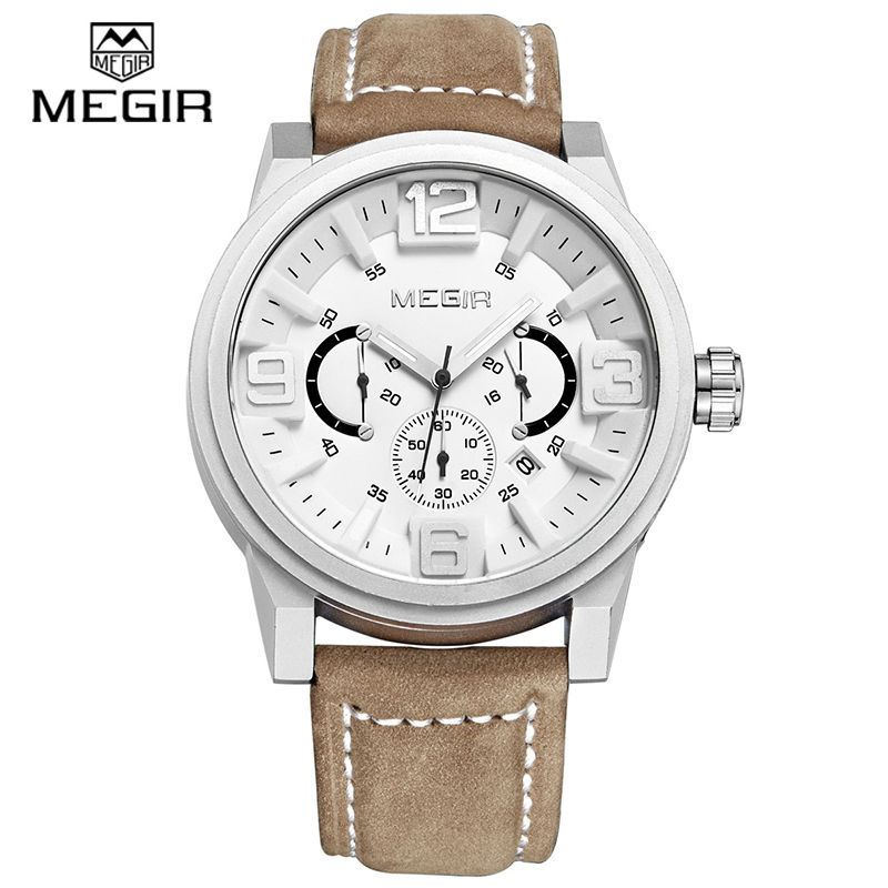 ФОТО MEGIR Luxury Brand Sports Watch Men Quartz Watches Chronograph Big Dial Clock Leather Soldier Wristwatch masculino