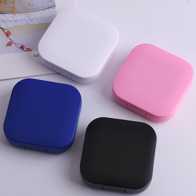ABS Plastic Square Contact Lens Case Solid Color Mirror Cover Travel Container Holder Storage Soaking Box Case Hot Sale