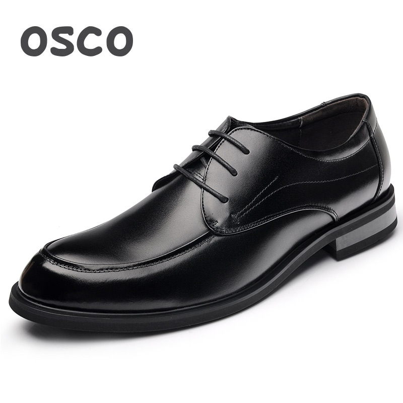 OSCO Spring Autumn Mens Shoes Business Casual Genuine Leather Dress Shoes Male Round Toe Handsome Trend Shoes Lace-up Oxford osco men shoes spring autumn genuine leather business casual shoes round toe slip on comfortable low shoes office work shoes