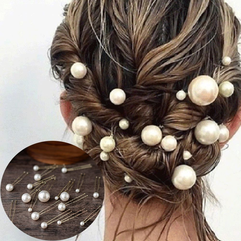 20Pcs/box Barrette Women U-shaped Pin Metal Clip Hairpins Pearl Bridal Tiara Hair Accessories Wedding Hairstyle Design Tools