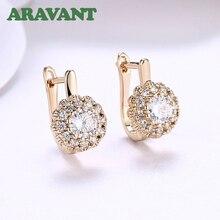 Luxury Female Drop Earrings Clear Zircon Flowers Dangle For Women Original Top Quality Jewelry