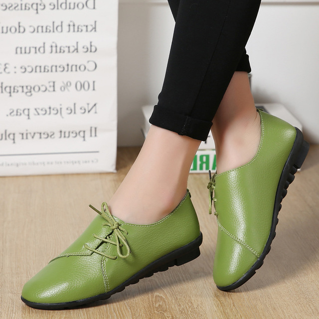 Spring summer flat shoes woman 2018 new arrival lace-up Pleated genuine leather flats shoes casual women shoes sneakers vtota shoes woman flat summer shoes fashion genuine leather single shoes 2017 new zapatillas mujer casual flats women shoes b44