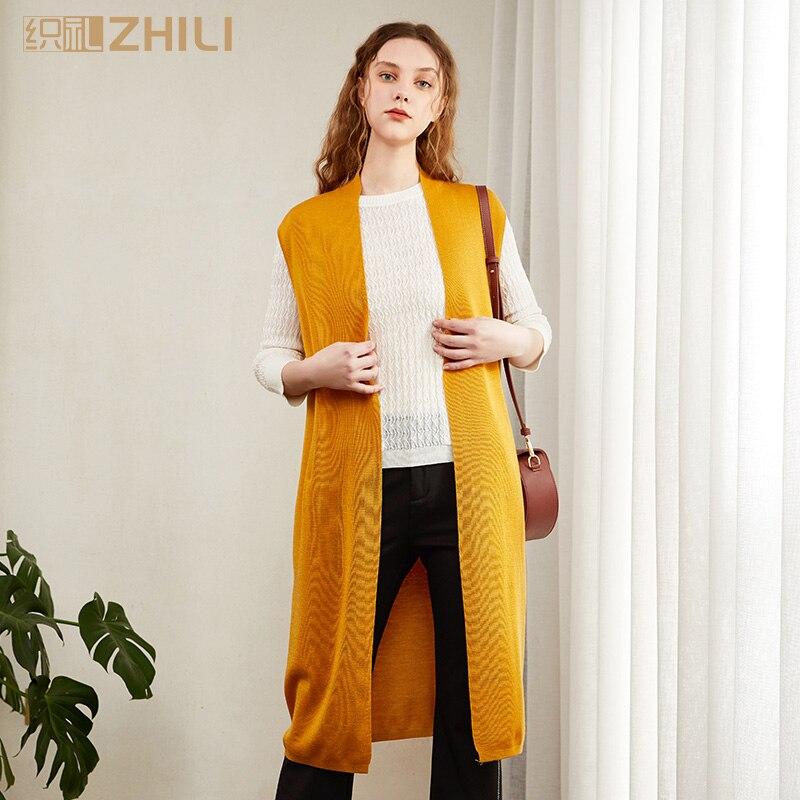 Hilfreich Zhili Frauen Lange Knie Open Ärmelloses Top Jacke Kragen Einfachen Strickjacke Frauen Kleidung & Zubehör