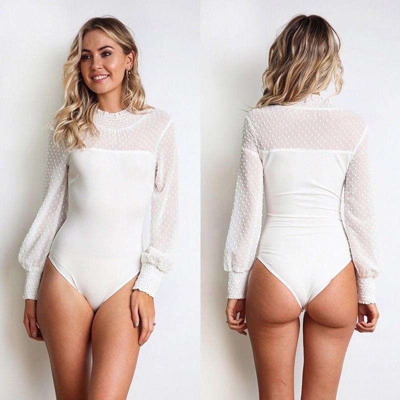 Women Sexy Bodysuits Ladies Female Elegant lace mesh turtleneck long sleeve chiffon Bodysuit Clubwear Fashion   Jumpsuits   Women