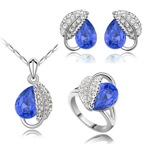 Летняя жизнь лист красивая капля воды для женщин океанический синий кристалл кулон Ювелирные наборы ожерелье серьги 2 в наборе 84172 - Окраска металла: darkblue 3