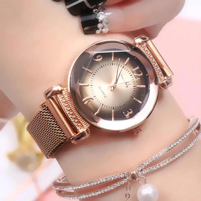 Reloj de mujer con gradiente de marcación de correa de Milan de lujo a la moda reloj de mujer relojes de vestir para mujer Regalos y decoraciones de fiesta
