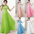 Women Half Sleeve Lace Chiffon Princess A Line Dress Candy Colour Elegant Dresses Maxi Long Dress Vestidos