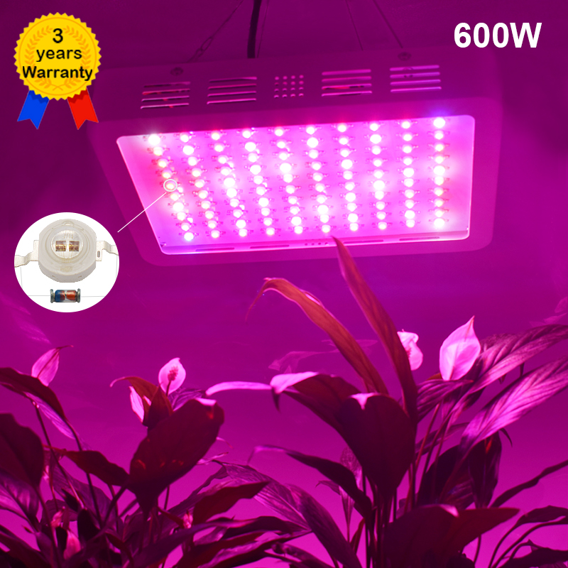 600W LED Grow Light Full Spectrum LEDs Plant Lighting Lamp for Plants Seedings Flowers Growing Greenhouses(100*6W double chips) 2016 women diamond watches steel band vintage bracelet watch high quality ladies quartz watch