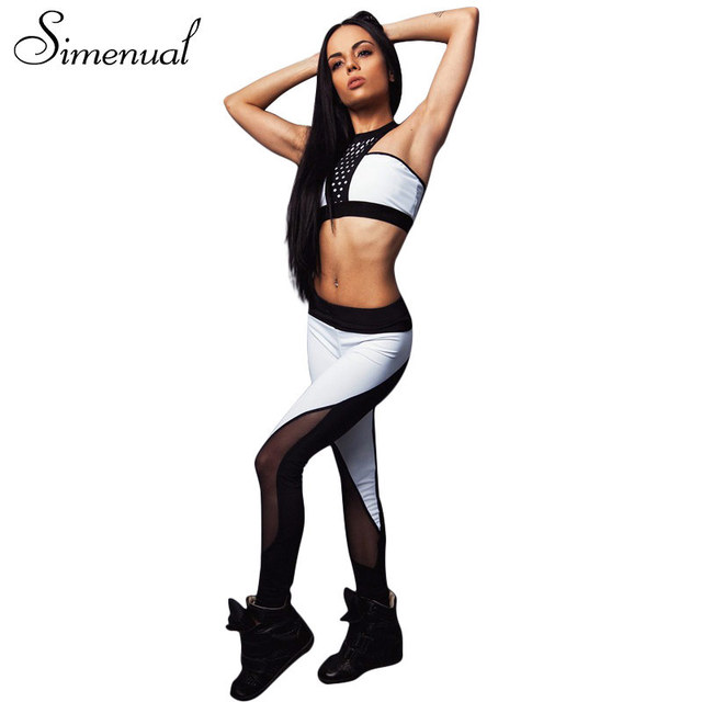 Simenual 2017 Summer женские костюмы athleisure сетки сращивания леггинсы фитнес бюстгальтеры push up sportsuits упругой тонкий костюм
