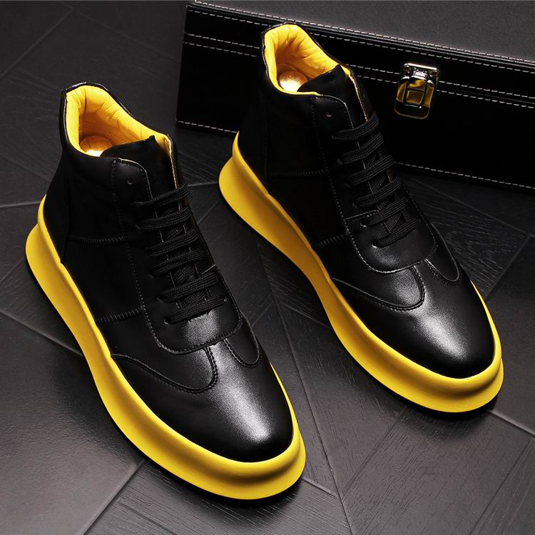 ERRFC Concise Designer Men Black Casual Shoes High Top Round Toe Lace Up Man White Leisure