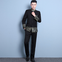 Mens Chinese Tunic Suit Set Male Stand Collar Men S Clothing Slim Chinese Style Mens Wedding