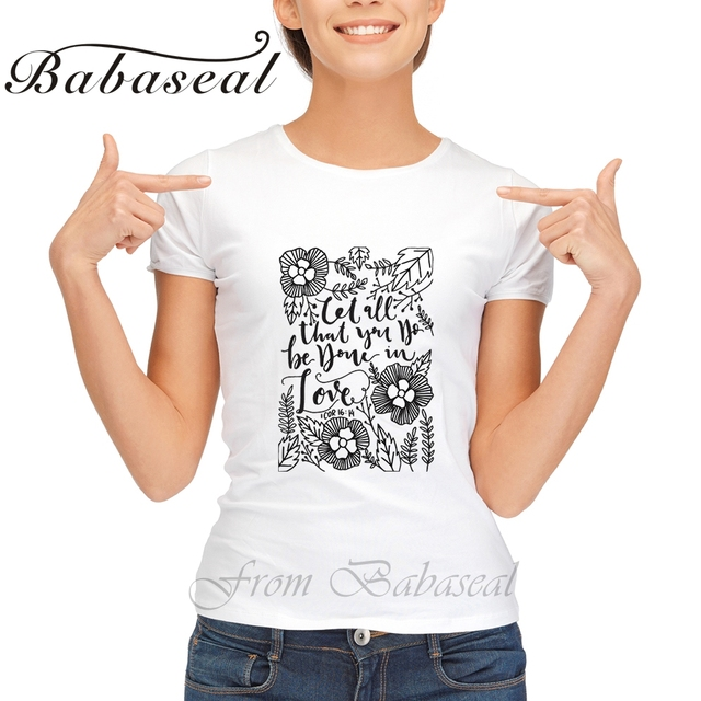 e6081b34 Babaseal Print Letter Bible Quote Corinthian T Shirt Women Tie Dye Funny  T-shirts Mermaid Rose Shirt Pineapple Graphic Tees