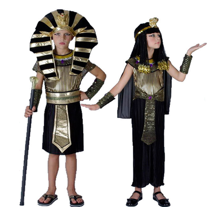 Trajes de faraón egipcio de los niños para Purim Cosplay mascarada de Halloween Childen traje infantil Faraón egipcio Cleopatra royal