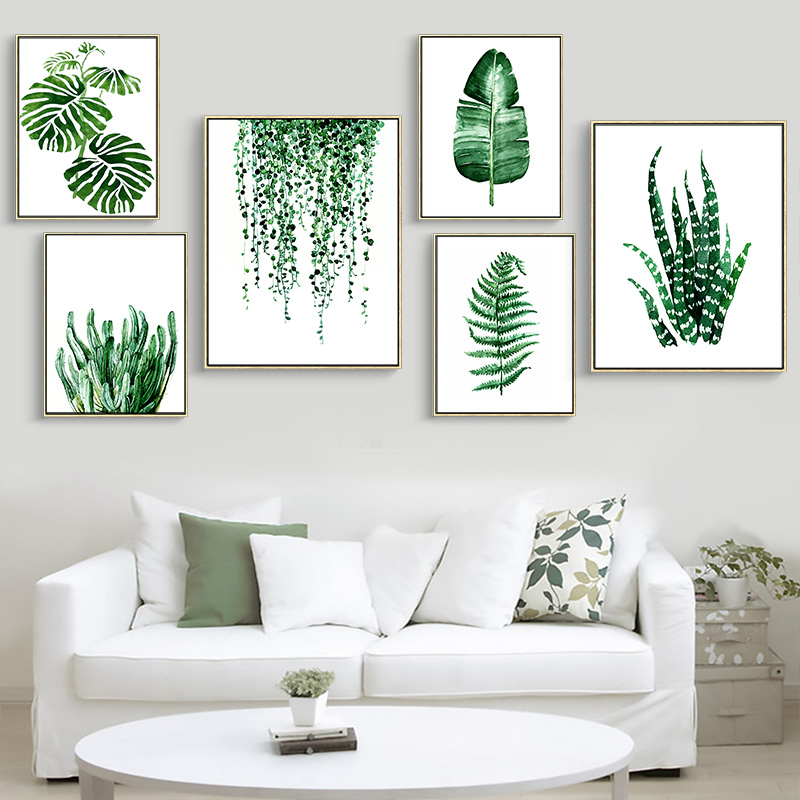 Modern green tropical plant leaves canvas art print poster nordic green plant wall pictures for Canvas prints childrens bedrooms