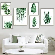 ที่ทันสมัยสีเขียวพืชเมืองร้อนใบศิลปะผ้าใบพิมพ์โปสเตอร์,นอร์ดิกผนังพืชสีเขียวรูปภาพห้องเด็กขนาดใหญ่ภาพวาดไม่มีกรอบ