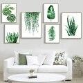 Verde moderno planta Tropical deja lona impresión del arte Poster nórdicos planta verde pared de la habitación de los niños gran pintura sin marco