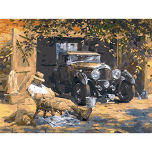 HAOCHU Frameless Vintage Fashion Car Sleepy Dog Animal Canvas Painting DIY Digital Painting By Number Wall Picture Home Decor(China)
