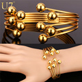 U7 Gold Multi Layer Bracelet Trendy Gold Plated Fashion Jewelry Wholesale Round Bead Cuff Bracelets For Women H658